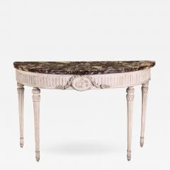 Fine Italian 18th Century Demi Lune Ivory Painted Console Table Louis XVI  Period   637255
