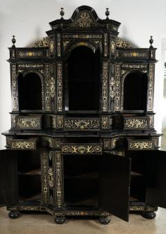 Fine Italian Baroque Ebonized Wood Faux Ivory and Hardstone Cabinet 2 of 2  - 1166228
