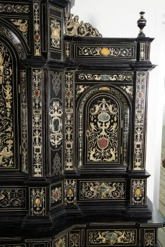 Fine Italian Baroque Ebonized Wood Faux Ivory and Hardstone Cabinet 2 of 2  - 1166233