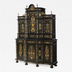 Fine Italian Baroque Ebonized Wood Faux Ivory and Hardstone Cabinet 2 of 2  - 1167166