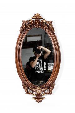 Fine Mahogany Wood Framed Victorian Hanging Mirror - 1038009