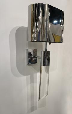 Fine Pair American Modern Polished Steel and Lucite Wall Lights Karl Springer - 2098004