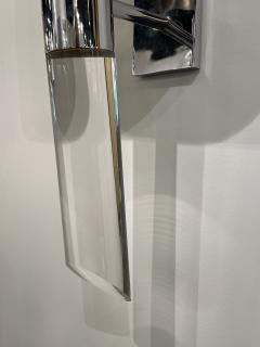Fine Pair American Modern Polished Steel and Lucite Wall Lights Karl Springer - 2098006