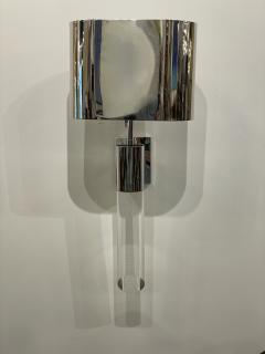 Fine Pair American Modern Polished Steel and Lucite Wall Lights Karl Springer - 2098007