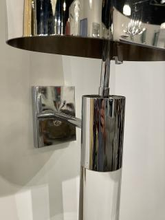 Fine Pair American Modern Polished Steel and Lucite Wall Lights Karl Springer - 2098008