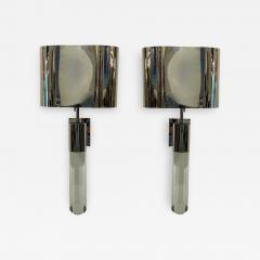 Fine Pair American Modern Polished Steel and Lucite Wall Lights Karl Springer - 2098946