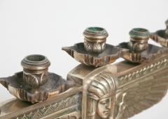 Fine Pair of Art Deco Silvered Bronze Five Light Candelabra - 364600