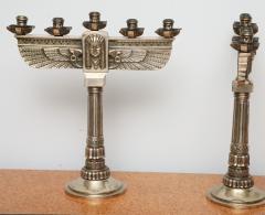 Fine Pair of Art Deco Silvered Bronze Five Light Candelabra - 364601