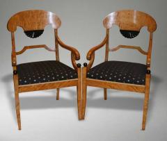 Fine Pair of Biedemier Style Satin Birchwood Armchairs - 636242