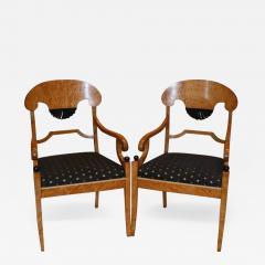 Fine Pair of Biedemier Style Satin Birchwood Armchairs - 637648