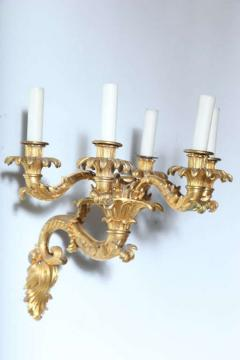 Fine Pair of Charles X Dor Bronze Five Arm Wall Lights - 390835