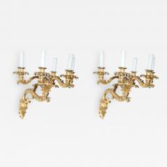 Fine Pair of Charles X Dor Bronze Five Arm Wall Lights - 562523