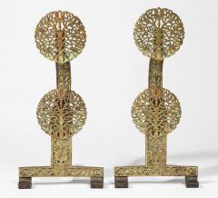 Fine Pair of English Arts Crafts Andirons - 1570096