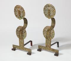 Fine Pair of English Arts Crafts Andirons - 1570100