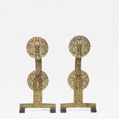 Fine Pair of English Arts Crafts Andirons - 1572743