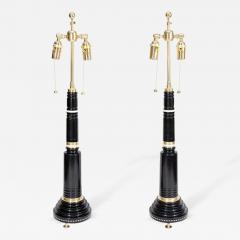 Fine Pair of French Empire Style Ormolu Mounted Ebony Lamps - 272356
