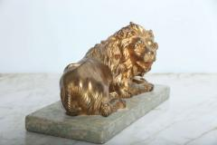 Fine Pair of Gilt Bronze Lion and Lioness on Marble Bases Italy - 364655