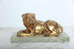 Fine Pair of Gilt Bronze Lion and Lioness on Marble Bases Italy - 364656