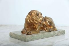 Fine Pair of Gilt Bronze Lion and Lioness on Marble Bases Italy - 364657