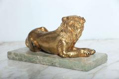 Fine Pair of Gilt Bronze Lion and Lioness on Marble Bases Italy - 364658