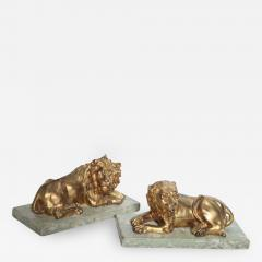 Fine Pair of Gilt Bronze Lion and Lioness on Marble Bases Italy - 384371