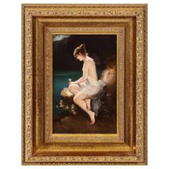 Fine Quality Antique Berlin K P M Hand Painted Porcelain Plaque Psyche  - 1217794
