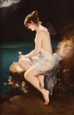 Fine Quality Antique Berlin K P M Hand Painted Porcelain Plaque Psyche  - 1218741