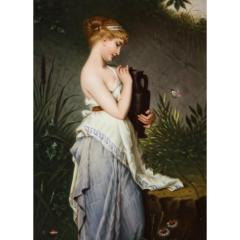Fine Quality Berlin K P M Hand Painted Porcelain Plaque Psyche with Vase  - 1217782