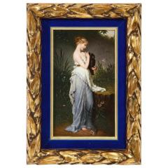 Fine Quality Berlin K P M Hand Painted Porcelain Plaque Psyche with Vase  - 1217786