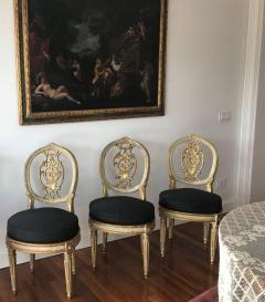 Fine Set of Eight Italian Painted and Parcel Gilt Chairs Tuscany 18th Century - 632760