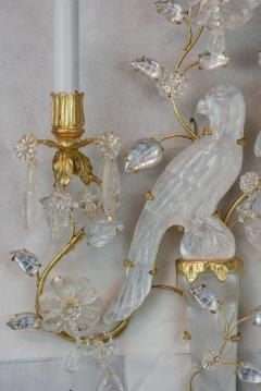 Fine Set of Four Bagu s Style Gilt Bronze Carved in Rock Crystal Wall Sconces - 1442077