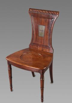 Fine Set of Four Regency Mahogany Armorial Hall Chairs - 1005833