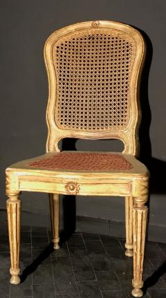 Fine Set of Six Italian 18th Century Painted and Parcel Gilt Chairs - 1995885