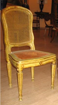 Fine Set of Six Italian 18th Century Painted and Parcel Gilt Chairs - 1995886