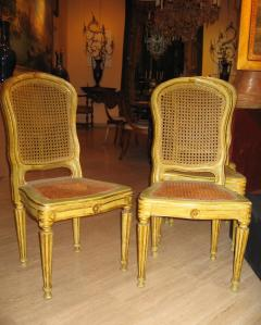 Fine Set of Six Italian 18th Century Painted and Parcel Gilt Chairs - 1995889