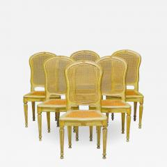 Fine Set of Six Italian 18th Century Painted and Parcel Gilt Chairs - 1996552