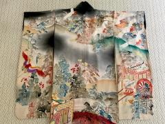 Fine Vintage Japanese Furisode Kimono with Yuzen Dyes and Embroidery - 1430006