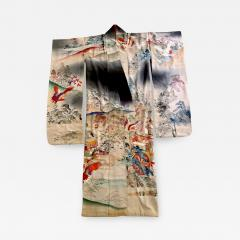 Fine Vintage Japanese Furisode Kimono with Yuzen Dyes and Embroidery - 1430175