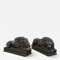 Fine and Large Pair of Grand Tour Marble Figures of Recumbent Lions - 1657263