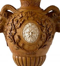 Fine and Monumental Pair of Italian Neoclassical Siena Marble Urns on Pedestals - 1124767