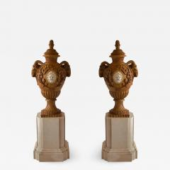 Fine and Monumental Pair of Italian Neoclassical Siena Marble Urns on Pedestals - 1152790