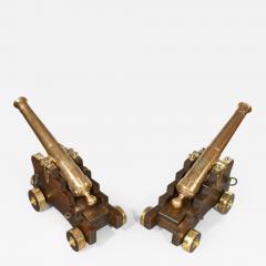 Fine pair of 19th Century English 41 barrel bronze cannon - 852274
