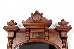 Finely Carved Mahogany Wood Victorian Style Hanging Mirror - 1038037