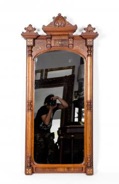 Finely Carved Mahogany Wood Victorian Style Hanging Mirror - 1038038