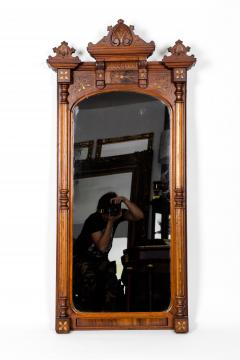 Finely Carved Mahogany Wood Victorian Style Hanging Mirror - 1038043