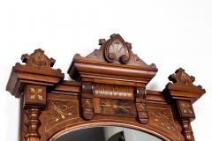 Finely Carved Mahogany Wood Victorian Style Hanging Mirror - 1038044