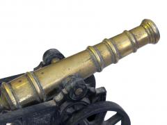Finely rendered English Victorian brass ornamental cannon on cast iron carriage - 830393
