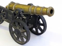 Finely rendered English Victorian brass ornamental cannon on cast iron carriage - 830394