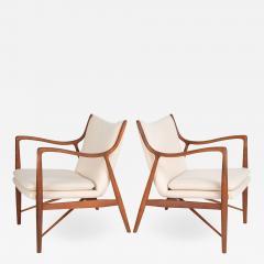 Finn Juhl Finn Juhl Pair Of Iconic 45 Lounge Chairs 1950s - 1525182