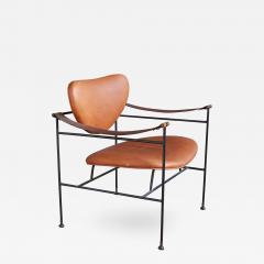 finn juhl finn juhl style wrought iron leather lounge chair - Leather Lounge Chair